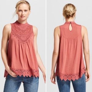 💕Blush Crochet Smock Neck Sleeveless Blouse💕